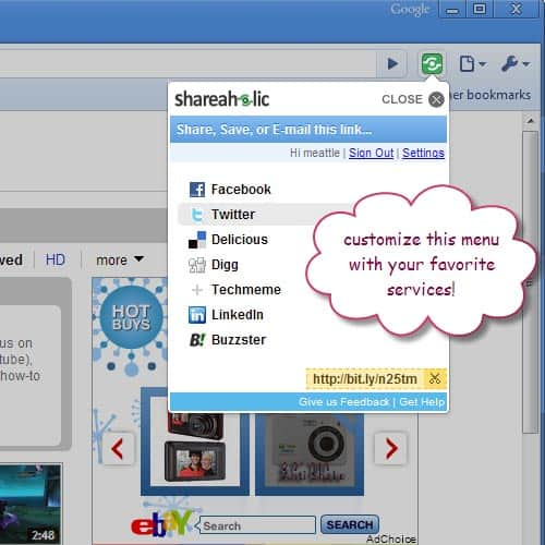 Shareaholic Sharing Extension for Chrome