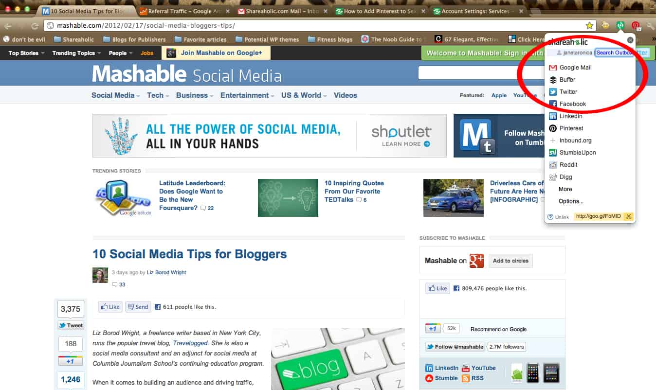 Shareaholic Chrome Plugin