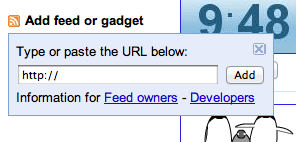 iGoogle add gadget