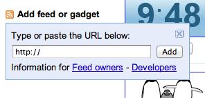 iGoogle add gadget