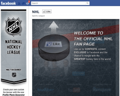 NHL Facebook page
