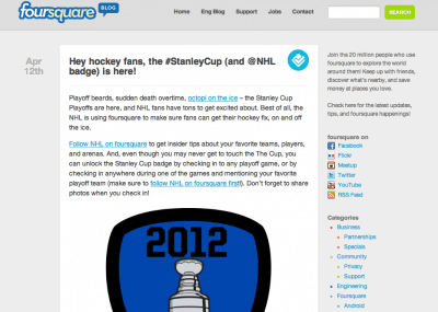 Stanley Cup badge on Foursquare