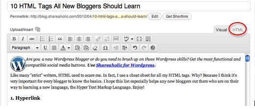 HTML Tab of WordPress