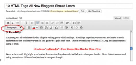 How to make Headers in WordPress