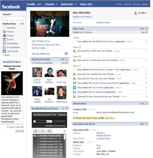 10 screenshots of the old facebook designs janet aronica • social