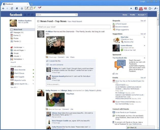 Facebook screenshot 2010