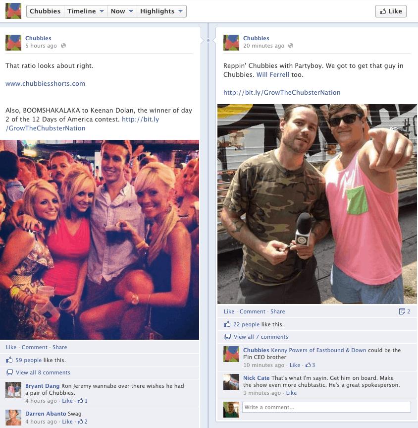 Chubbies Facebook Timeline