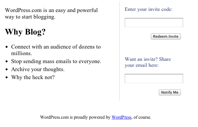 Wordpress - Aug 2005