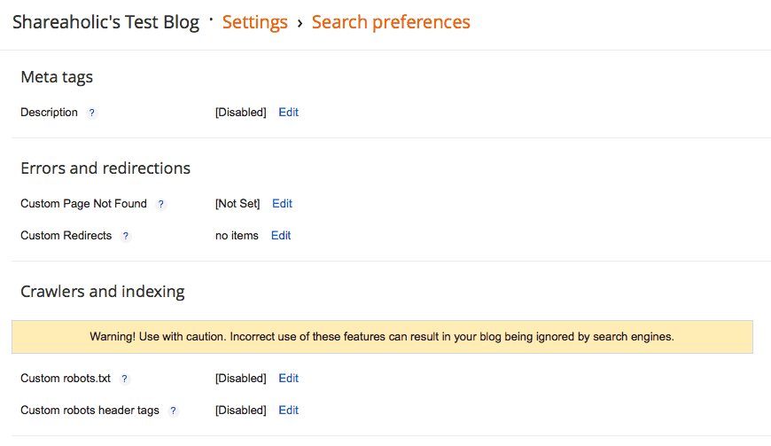 Blogger Search Preferences