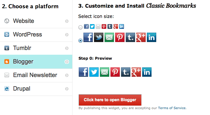 Classic Bookmarks for Blogger