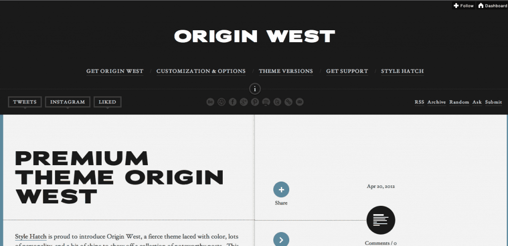 Origin West Tumblr Theme