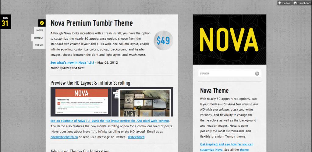 Nova Tumblr Theme