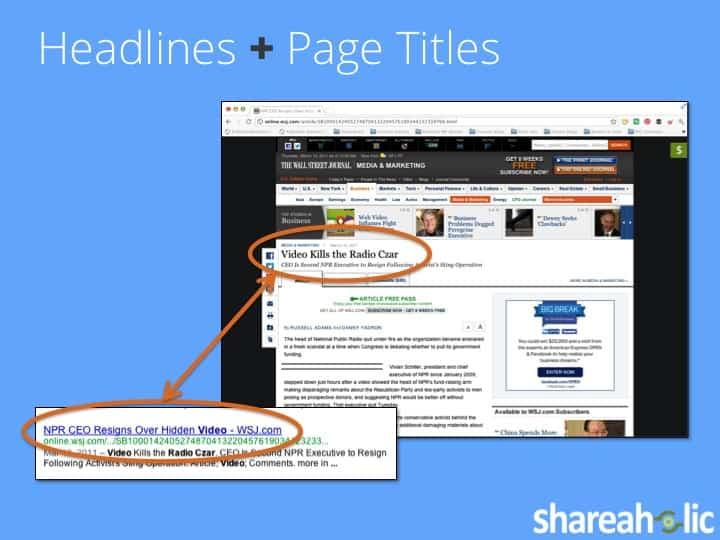Headline plus page titles