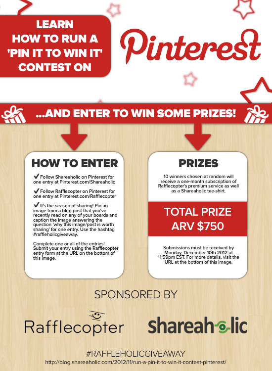 Rafflecopter Shareaholic Pinterest Giveaway