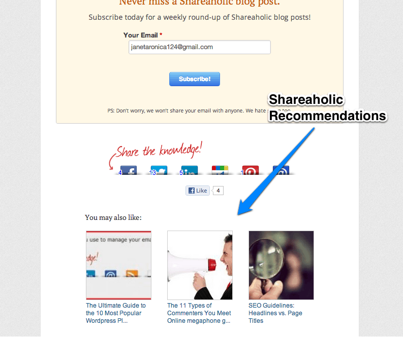 shareaholic recommendations