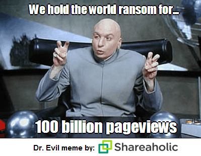 Dr. Evil blogging meme by Shareaholic