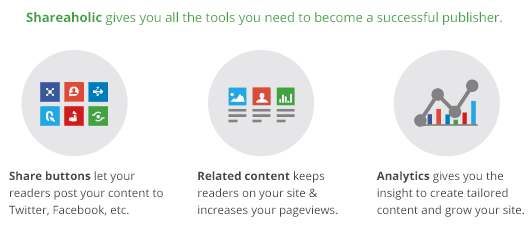 Shareaholic's Publisher Tools (share buttons, content recommendations, social analytics)