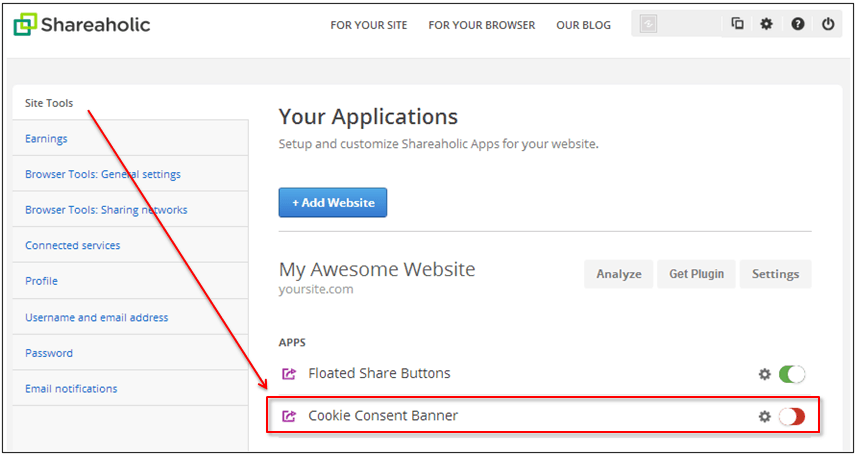 Cookie Consent Banner Tutorial by Shareaholic