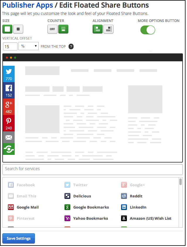 Updated Floating Share Buttons Settings