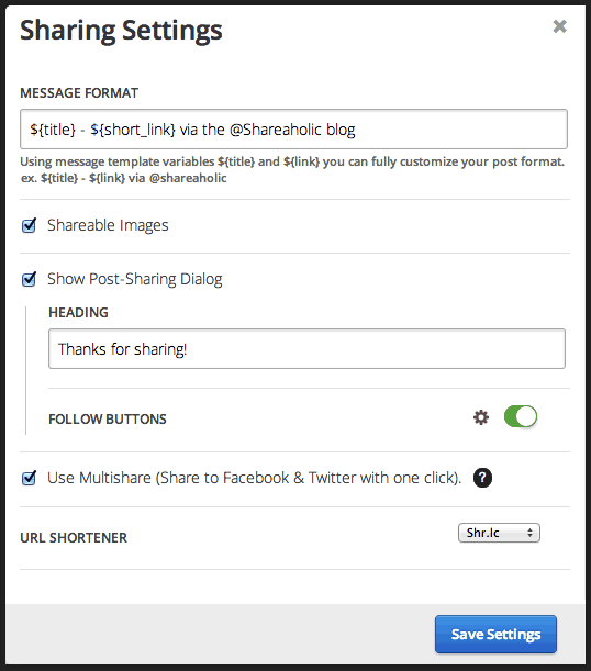 Advanced Shareaholic Share Button Settings