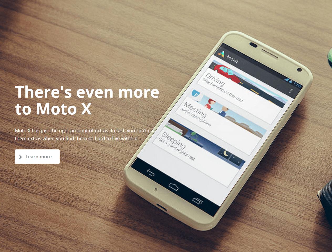 Moto X landing page