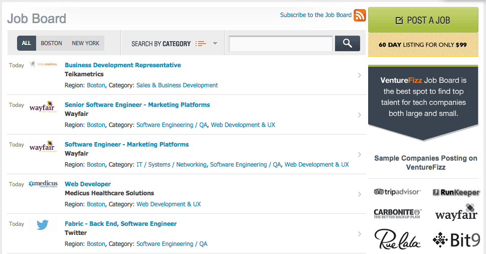 Job boards on VentureFizz