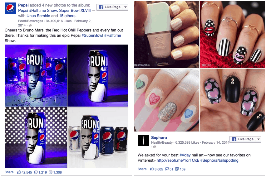 Pepsi and Sephora on Facebook