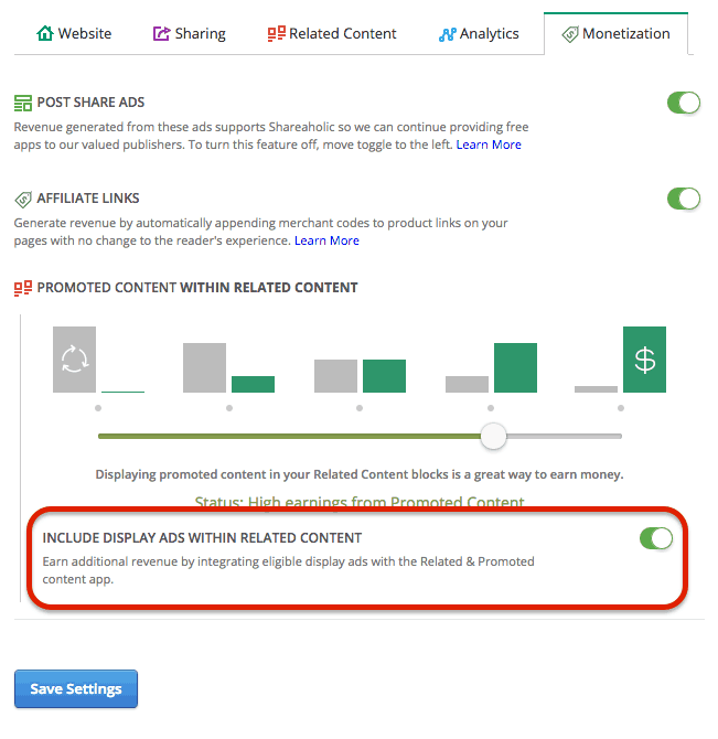 Shareaholic Display Ads Settings
