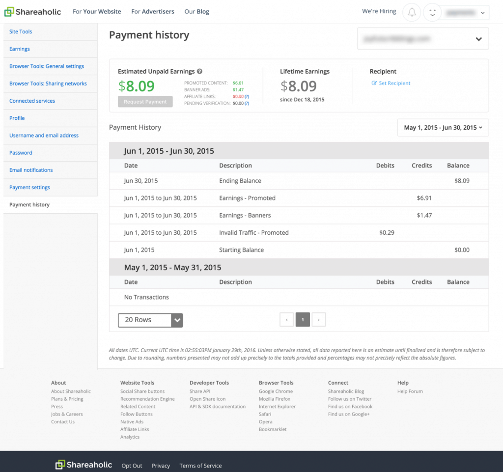 Payments History Preview